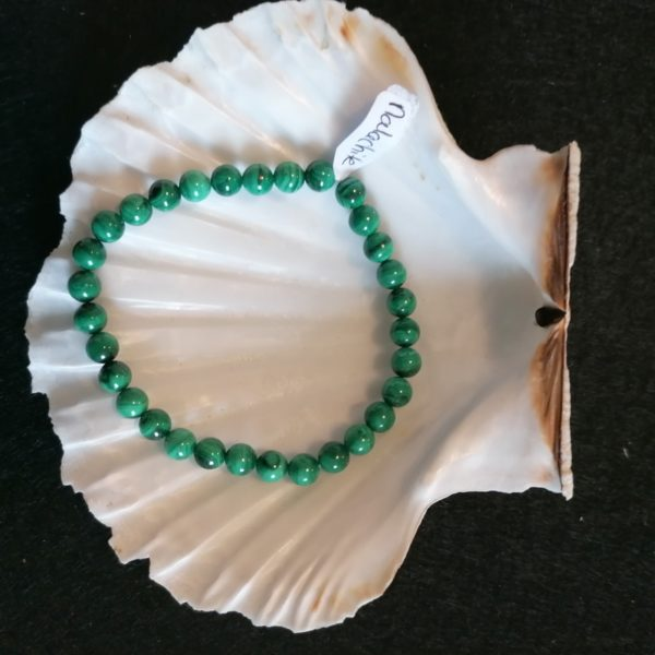 bracelet malachite 6mm -agapanthe